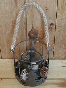 Metall-Windlicht-mit-Glas-u-Zapfen-Motiv-Tannen-zum-Stellen-amp-Haengen