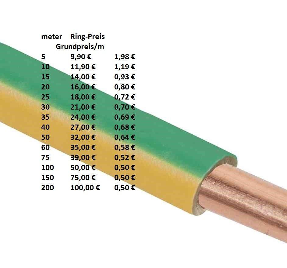 H07V-U 4 mm² Aderleitung Erdungskabel Erdungsleitung Erdung starr grün   gelb  | Neues Design