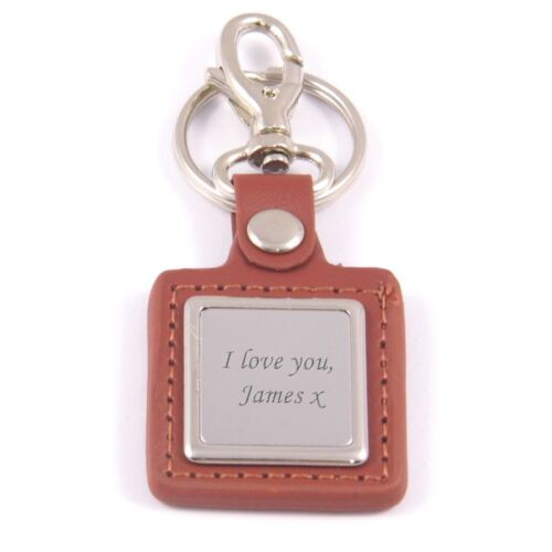Personalised Engraved Leather Key Ring Great Gift
