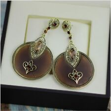Handmade Women Fashion Antique Resin Gem,CZ & Crystal Hoop Dangle Earrings