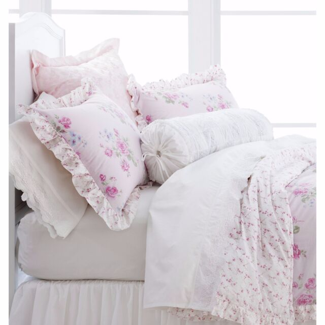 Simply Shabby Chic Woodrose White Embroidered Sheet Set King