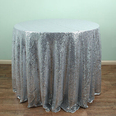 Silver - Round Sparkly Sequin Tablecloths Banquet Wedding Table Decoration
