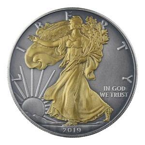 2019-American-Silver-Eagle-1oz-999-Silver-Coin-Antique-Gold-Edition