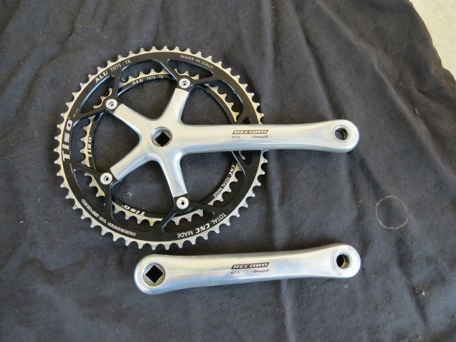CAMPAGNOLO RECORD 10 SPEED CRANK SET 177.5 TISO 42 53 ROAD RACING  BICYCLE