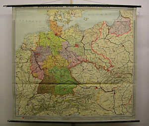 Map Of Germany 1960.Details About Wall Map Germany Incl Brd Ddr Alpine Countries Ostgebiete 1960 203x186 Vintage