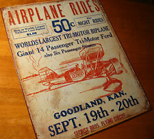 Rustic Retro Vintage BIPLANE AIRPLANE RIDES Reproduction Airport Decor Sign NEW