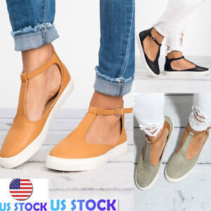 Womens-T-Bar-Buckle-Sandals-Round-Toe-Sneaker-Summer-Casual-Flat-Shoes-Size-5-10
