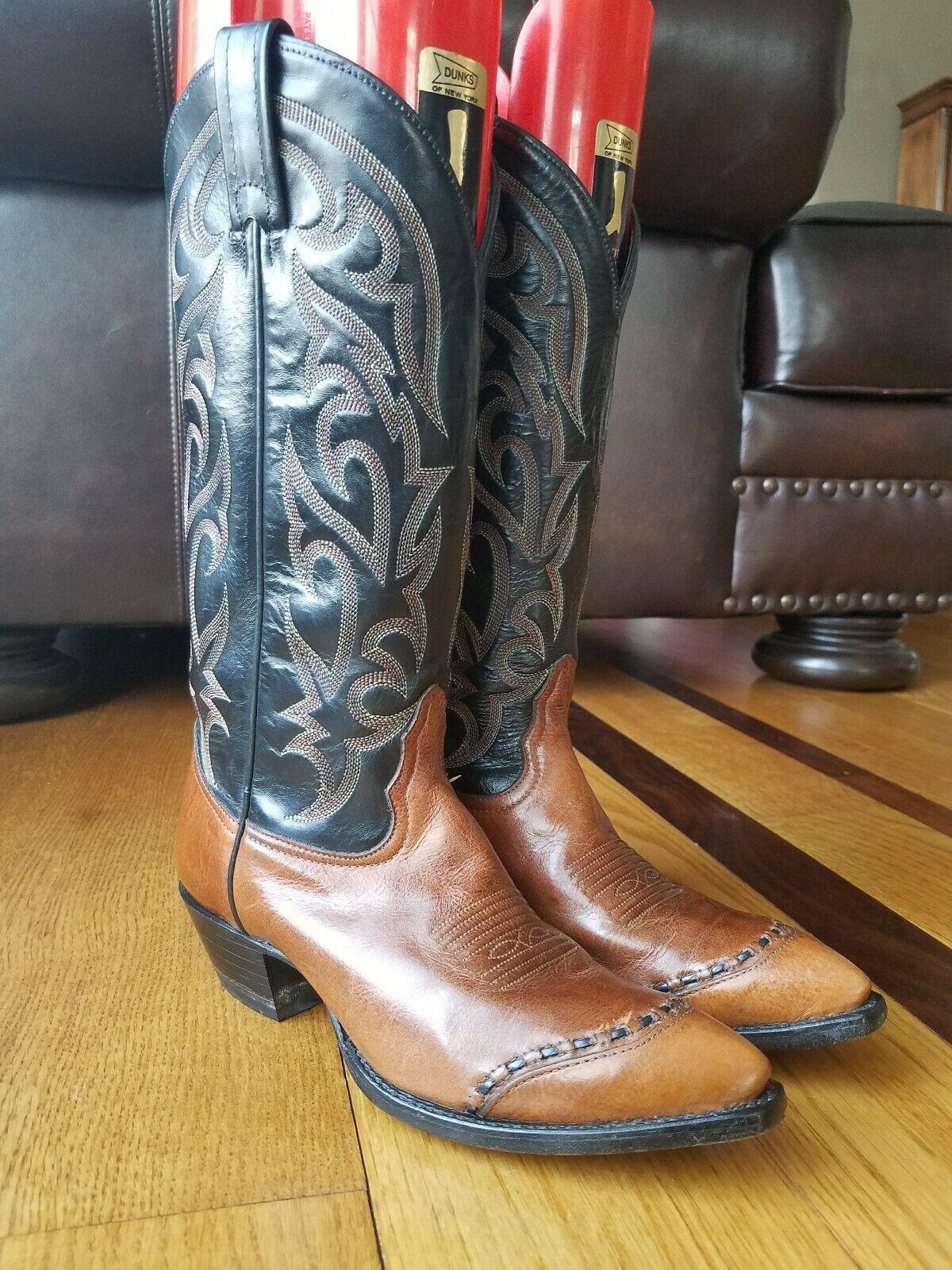 Tony Lama Mujeres Dos Tonos De Cuero Negro Marrón Western Cowboy botas 1035 tamaño 6M