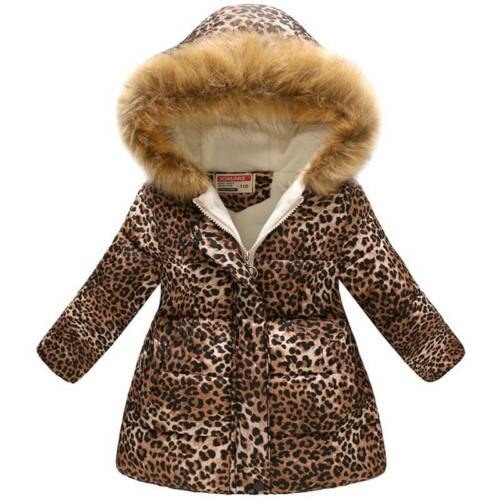 Kids Girls Winter Warm Padded Parka Coat Hoodie Fur Hooded Puffer Jacket 4-11Yrs