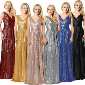 Long Sequins Bridesmaid Wedding Dresses Plus Size V-Neck Evening Party Prom Gown