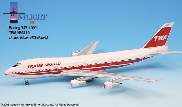 Inflight200 Twa Trans World Airlines 80s Bold títulos 747-100 1 200 Escala n53110
