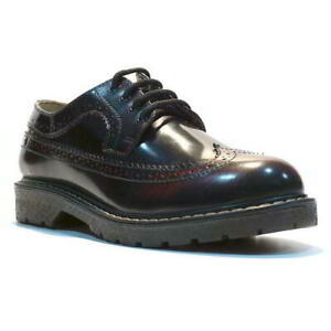 Grinders New Bertrum Black And White Leather American Brogue Air Cushioned Soles