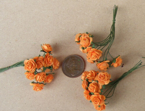 30 Fleurs d/'Orange Papier Roses tumdee Dolls House B Échelle 1:12 3 Grappes