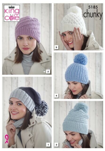 Ladies Hats 5 Designs In Chunky Yarn Knitting Pattern King Cole 5185