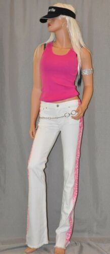 OCEANA CHARITY Pink Surf Co.Pink Hibiscus Jeans Pant MADE IN USA L.A.California