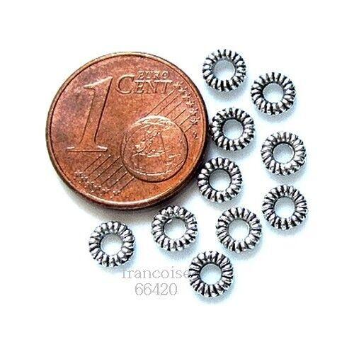 100 Perles intercalaire spacer Anneau argenté 4.5 mm Apprêts créat bijoux /_ A160