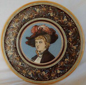 A-039-Grand-plat-ancien-VILLEROY-ET-BOCH-1900-signe-034-C-Wuth-034-Portrait-de-femme
