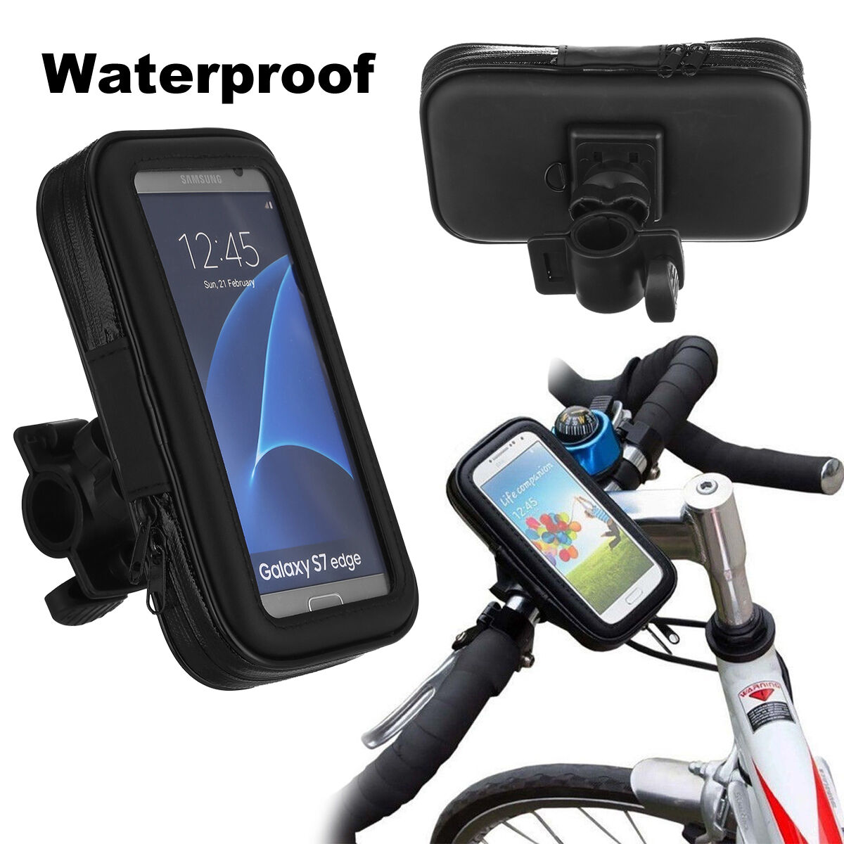 Bicycle Phone Mount >> Waterproof Motorcycle Bike Bicycle Handlebar Mount Holder Case For Cell Phone