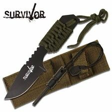 "Couteau Black Full Tang Survival Fire Starter Camping Hunting Knife 7"" overall"