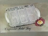 1 Oneida Chippendale Oblong Relish Dish w/Silverplate Tray and 3 Glass Liners