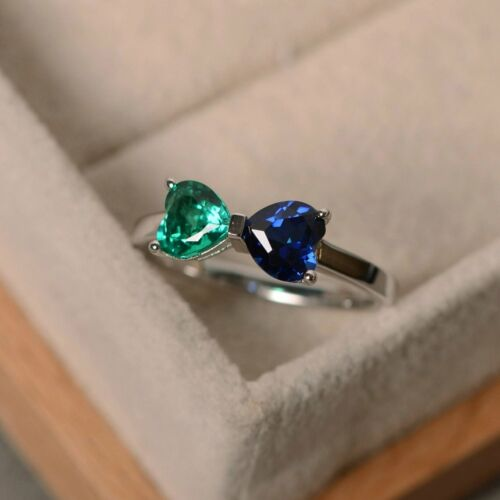 1Ct Heart Cut Emerald And Sapphire Engagement Ring Band 14k White Gold Finish