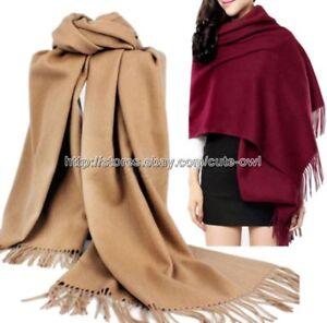 New-Fashion-Women-039-s-Solid-Chaud-100-Cachemire-Pashmina-echarpe-Wrap-Chale-etole