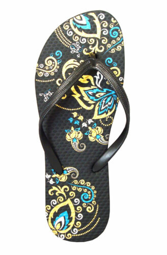 New Girl/'s Summer Floral Print Two Toned Beach Flip Flop Sandals--388 K 印花