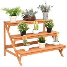 3 Tier Wood Plant Stand Flower Pot Holder Shelf Display Rack Stand Step  Ladder