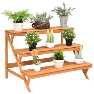 3 tier wood plant stand flower pot holder shelf display rack stand step ladder ebay. Black Bedroom Furniture Sets. Home Design Ideas