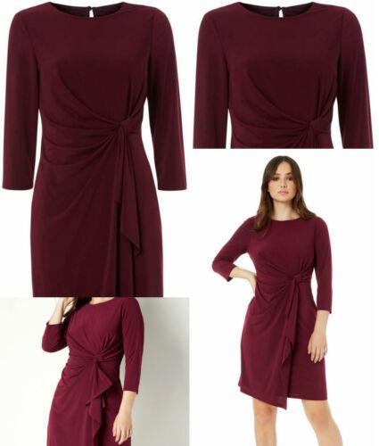 Roman Originals Femme Twist Front vins de Bourgogne Stretch 3//4 Longueur Manche Robe