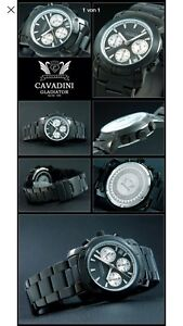 Gladiator-Men-039-s-Chronograph-Watch-Pure-Luxury-in-Black-Plated-Japan-Timepiece
