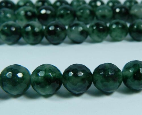 """8 mm Emerald Faceted Round Loose Beads Gemstone 15/"""""""