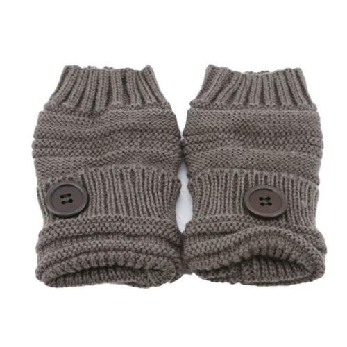 Ladies Women/'s Cable Knit Soft Warm Winter Button Fingerless Gloves LC