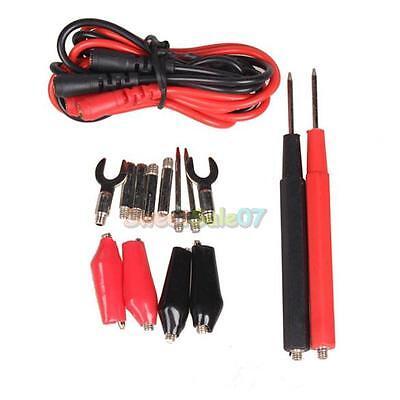 16PCS Multifunction Digital Multimeter Probe Test Lead Cable Alligator Clip #S7