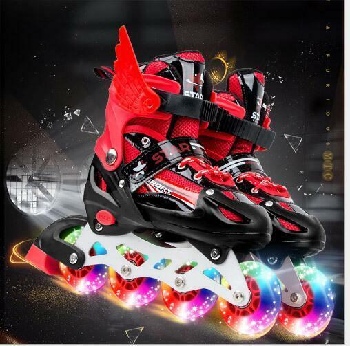 8 IN1 Inliner für für für Kinder verstellbar Inline Skates Mädchen Rollschuh 4 Farbe LED 006ff3