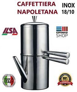CAFFETTIERA-NAPOLETANA-in-ACCIAIO-INOX-18-10-ILSA-IDEALE-PER-L-039-ORZO-PIU-039-MISURE