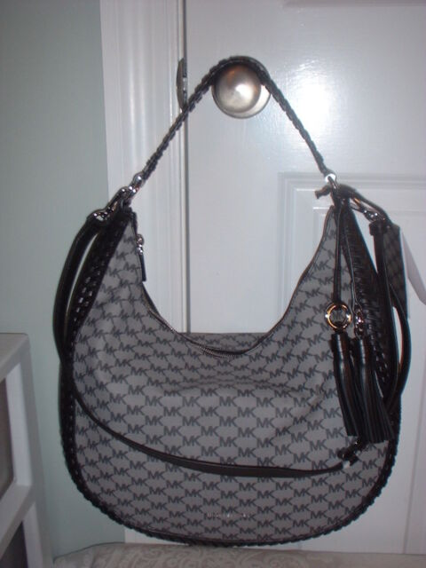 4b4ab5e8edf20d NWT Michael Kors Lauryn Signature Large Black Shoulder Handbag Crossbody