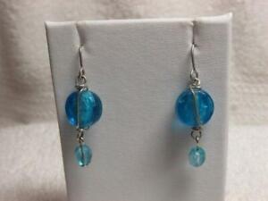 925 Silver Royal Blue Foil Glass Oval Dangle Earrings
