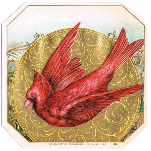 CIGAR LABEL RED CARDINAL 1896 EMBOSSED GENUINE NEW YORK CITY SCHMIDT VINTAGE A1