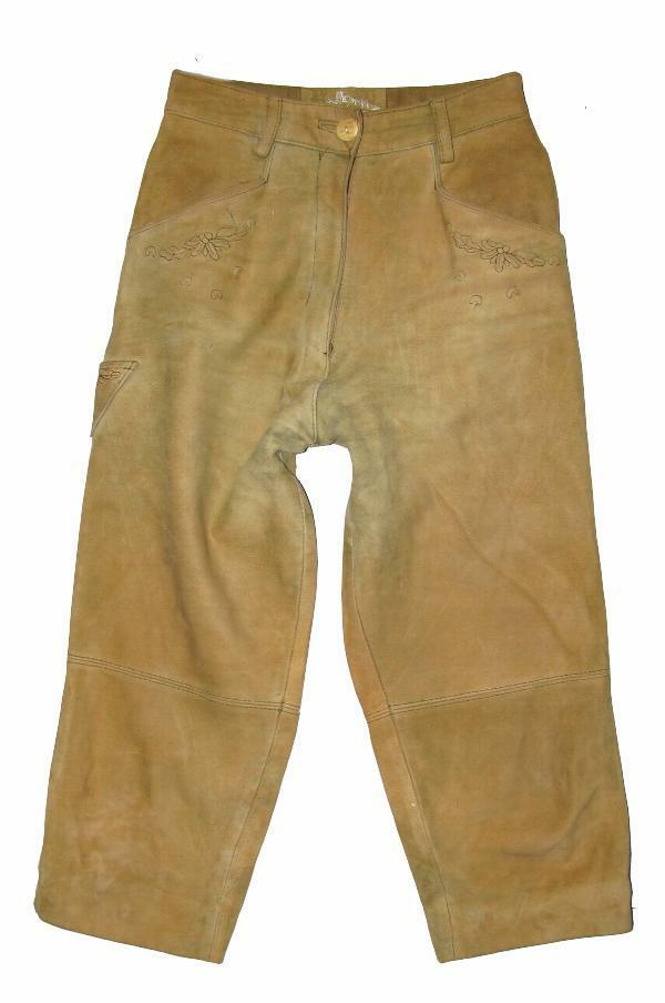 Ladies- Traditional Costume Leather Pants 3/4 Or 7/8tel Length IN Beige Sz. 34