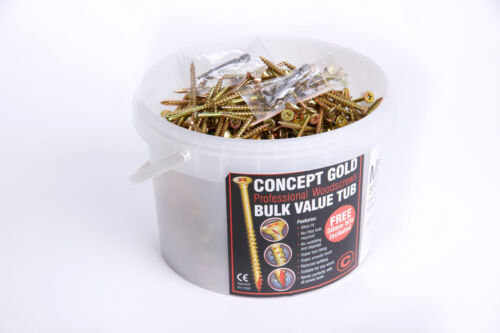 CONCEPT KTX Gold Wood Timber Screws Choose Pack Size M3-M6 or Trade Box//Tub