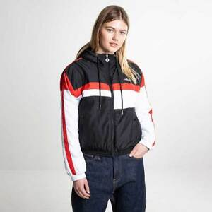 Details about Fila Alana Padded Jacket Women's Light Black Bright White Red 682328 I22
