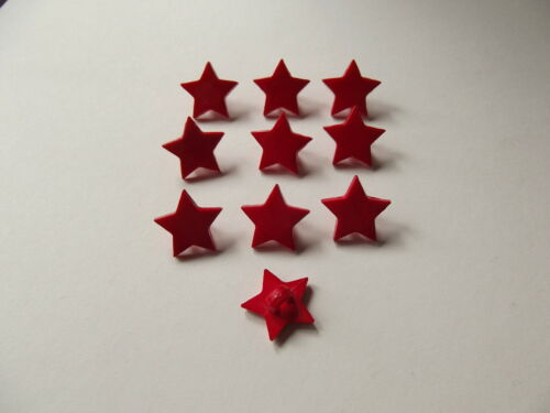 10 x RED STAR SHAPED BUTTONS size approx 15mm point to point ~ CRAFT//FASHION