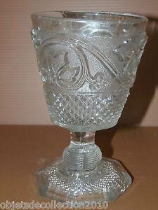 Grand verre a pied ancien calice en verre moule xixe collection vitrine deco ebay for Grand verre a pied pour decoration