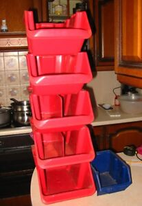 5-RED-1-BLUE-PLASTIC-STACKABLE-BINS-BOXES-DRAWERS-FOR-NAILS-SCREWS-TOOLS