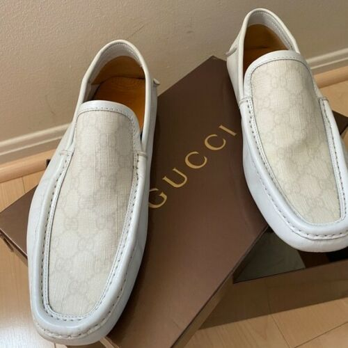 Gucci White Loafers with Gucci Logo on top
