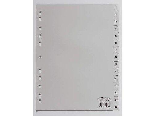 DURABLE Kunststoff-Register Zahlenregister 1-15 DIN A4 Universallochung grau