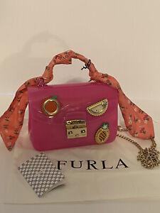 Furla-Candy-Sugar-Mini-Jelly-Crossbody-Scarf-Fuxiad-Toni-Hot-pink-NWT-378