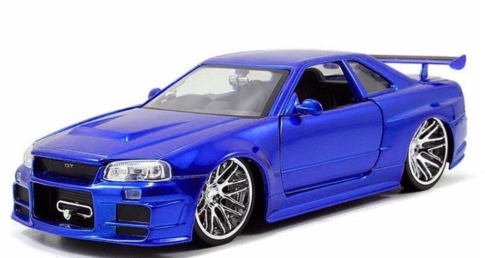 1 24 Nissan Skyline V6 V6 V6 Gt-R R34 GTR 2002 Jada Fast And Furious de Brian 5670a6