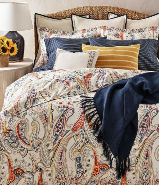 $430 New Ralph Lauren Rue Vanea Travis Paisley Comforter Cream Blue Paris King